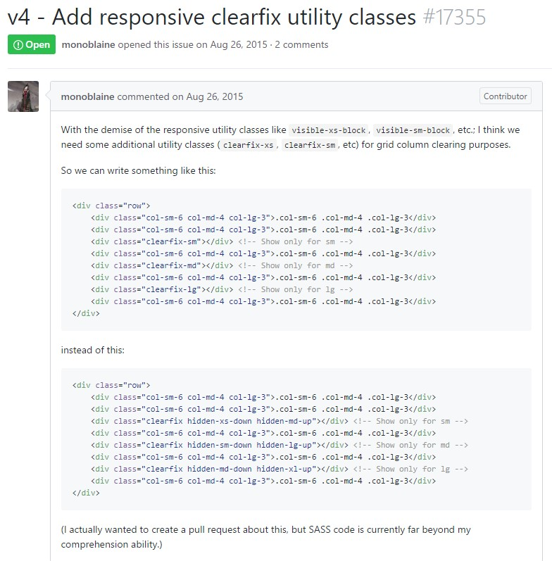 Bootstrap v4 -  Put in responsive clearfix utility classes