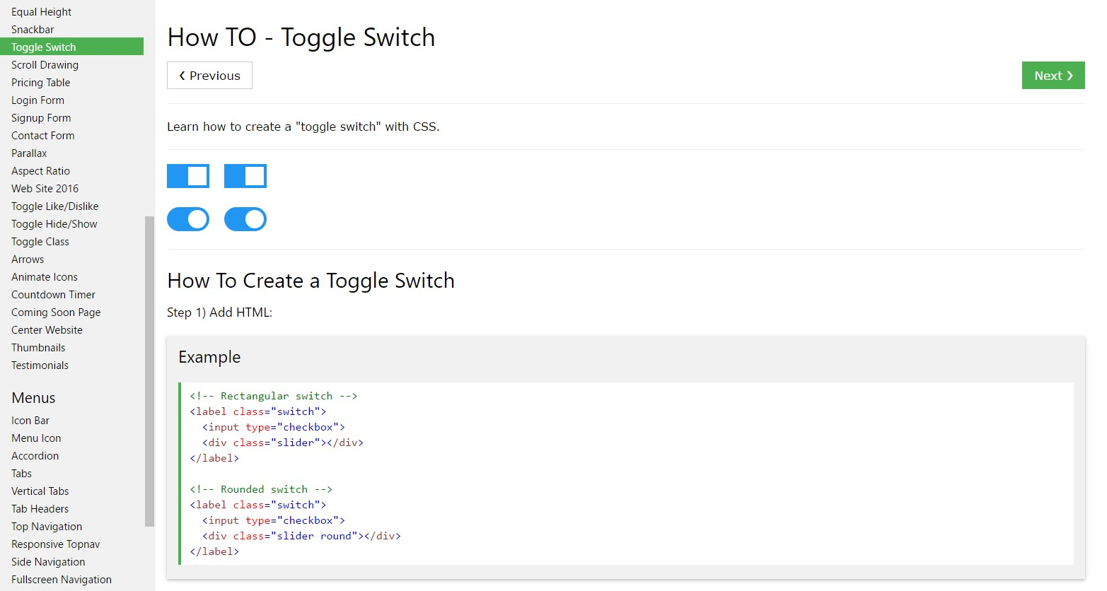 Effective ways to create Toggle Switch