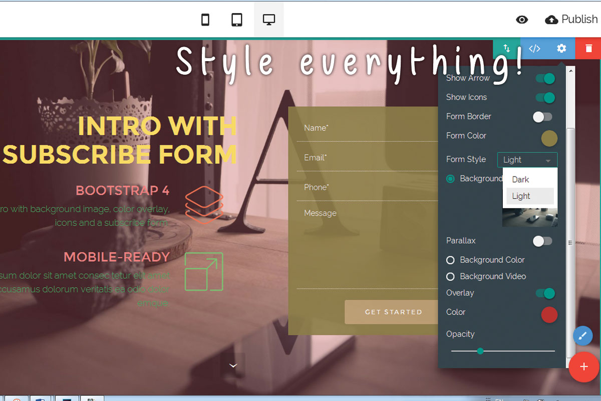 Drag and Drop Responsive Web Site Builder Software