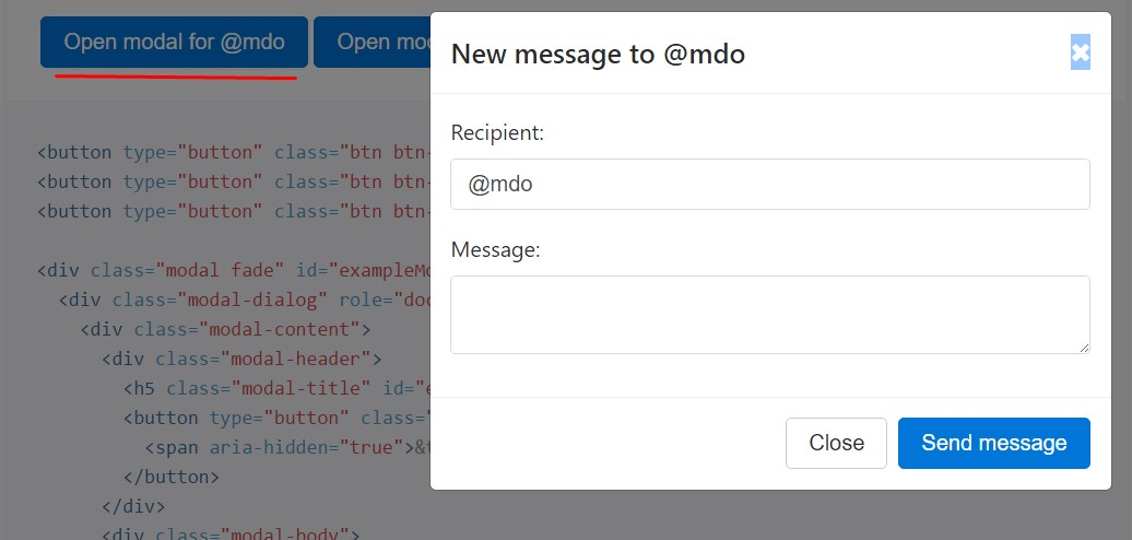 Different modal content
