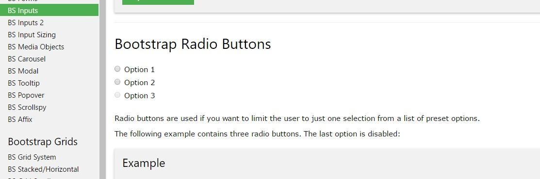Bootstrap Radio button -  short training