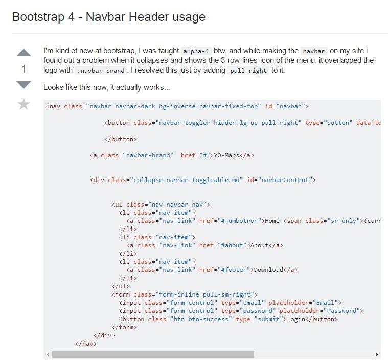 Bootstrap 4 - Navbar Header  utilization