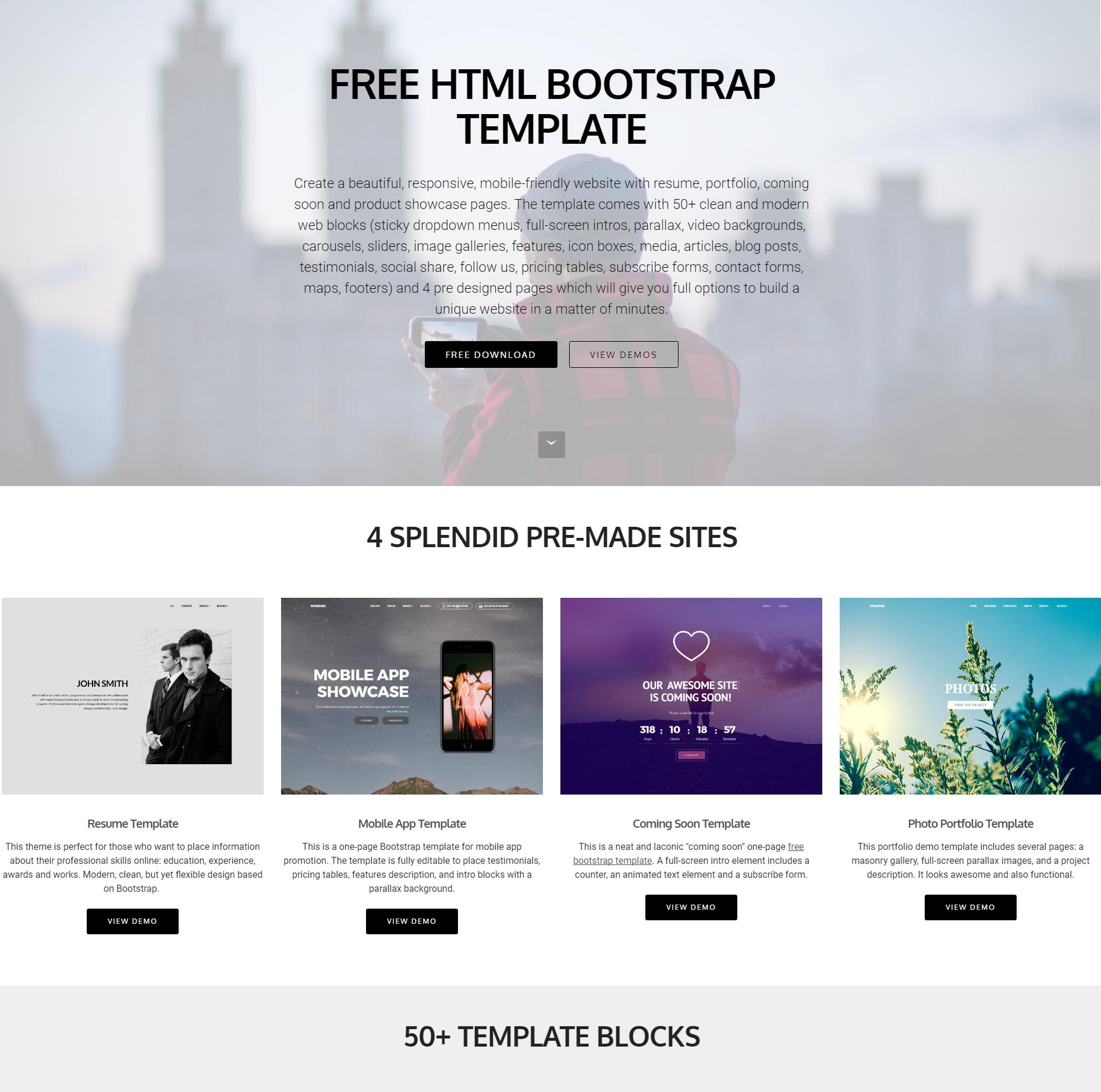 HTML Bootstrap 4 Blocks Themes